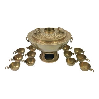 Asian Brass Hotpot Chafing Dish & Cups - Set of 13