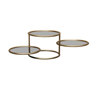Smoked Glass & Brass 3-Tier Table