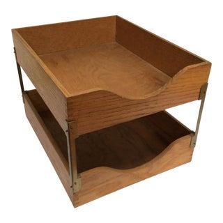 Vintage Tiered Oak Desk Tray
