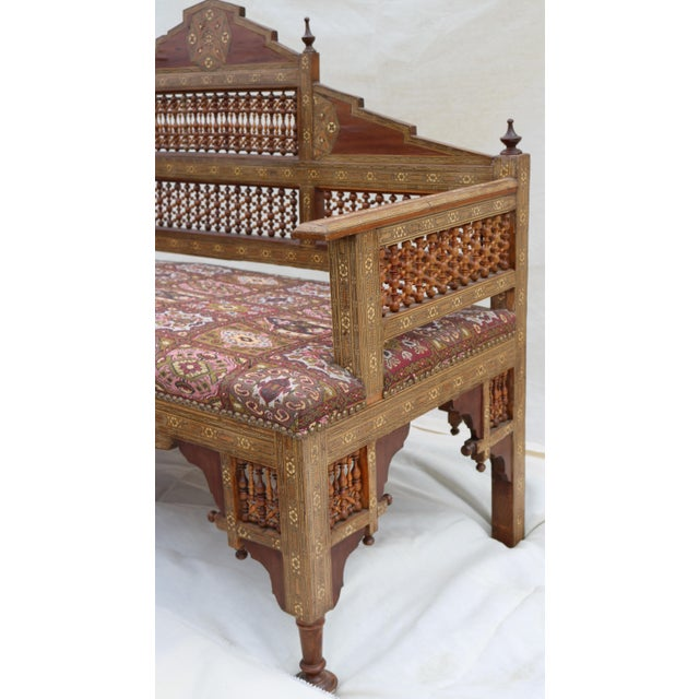 Antique Syrian Moorish Style Inlaid Settee & Tables - Set of 3 - Image 4 of 11
