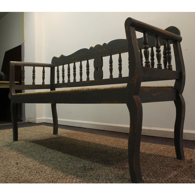 Painted Country French Triple Rush Seat Bench - Image 3 of 11