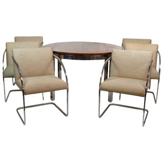 Milo Baughman Burl Walnut & Chrome Dining Set- 7 Pieces