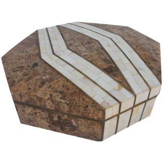 Maitland-Smith Octagonal Stone & Bone Box