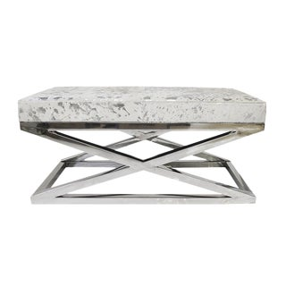 Forest Collection Steel and Cowhide Silver Bench