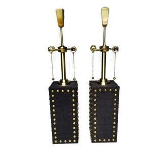 Modern Glam Studded Black & Brass Lamps - Pair