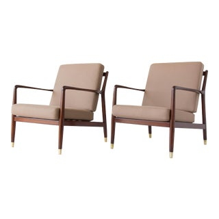Pair of Lounge Chairs with Brass-Capped Legs by Folke Ohlsson for DUX