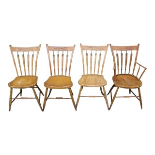 Set of Four 19th Century Mustard Original Painted Arrow Back Chairs