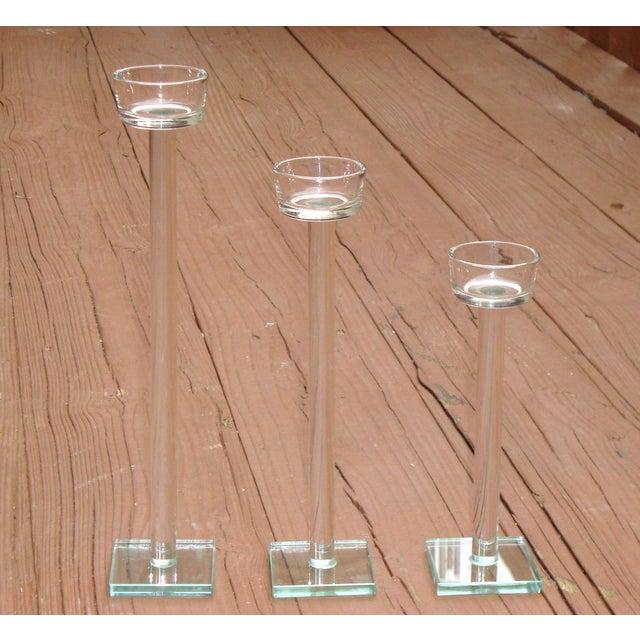 Minimalist Glam Glass Candlesticks - Set of 3 - Image 3 of 9
