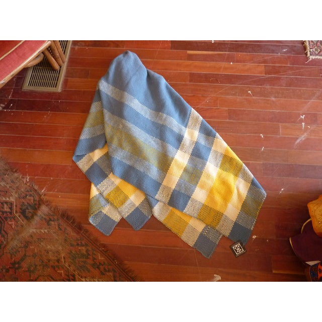 Vintage Blue and Yellow Wool Throw - Image 2 of 6
