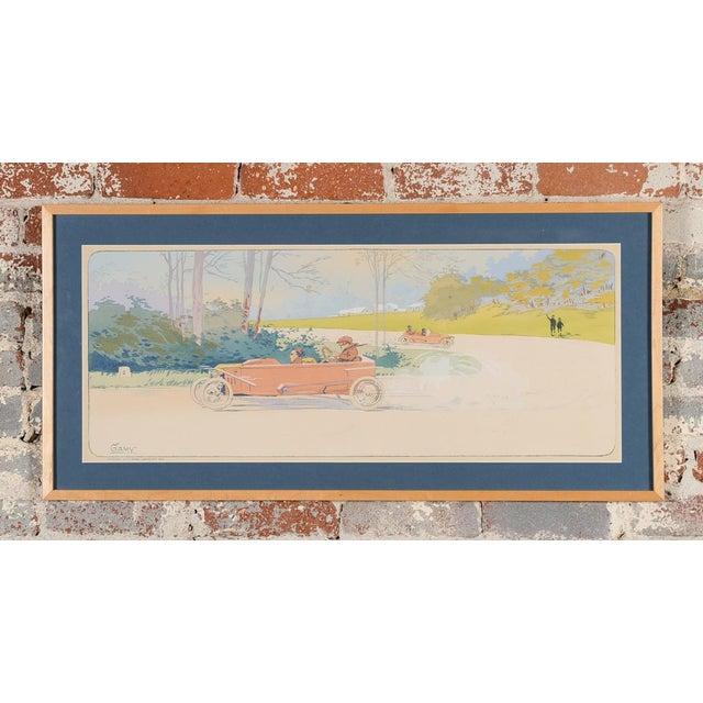 """Image of 1913 Original French Art Deco """"Dedalia Car Race"""" Poster"""