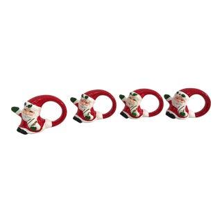 Vintage Santa Napkin Rings - Set of 4