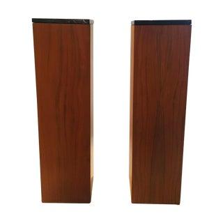 Mid-Century Wooden Pedestals, Marble Tops - Pair