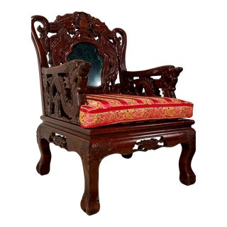 2 Chinese Rosewood & Marble Chair
