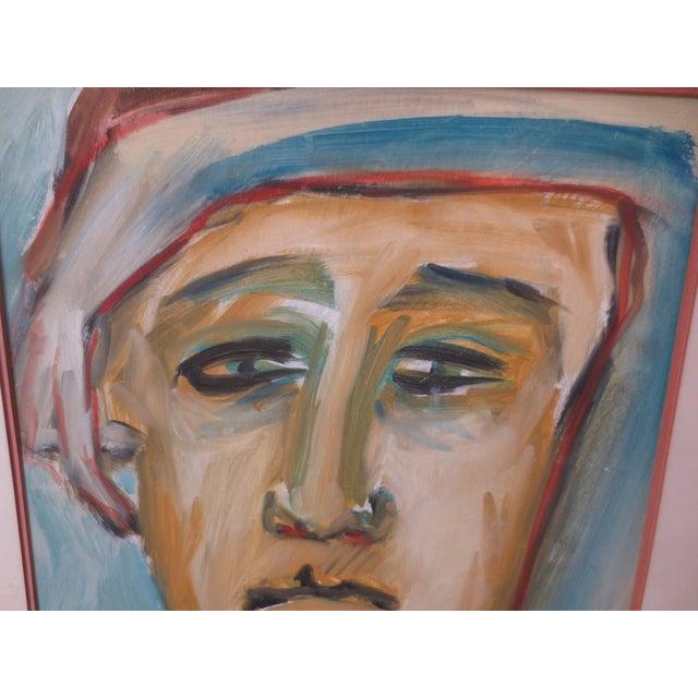 Circa 1970 Modernist Portrait Painting - Image 4 of 7