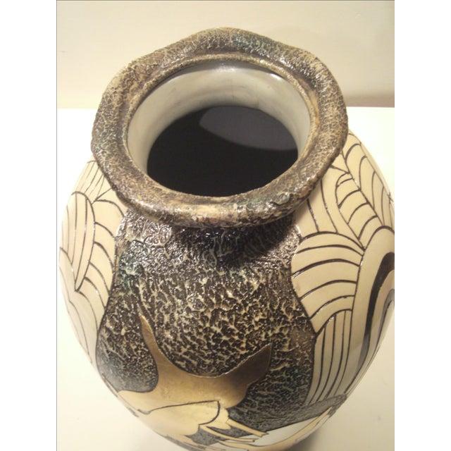 Large Alexander Kalifano Gold & Silver Leaf Vase - Image 10 of 10