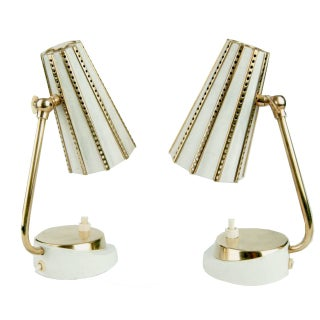 Stilnovo Retro Brass & White Lamps - A Pair