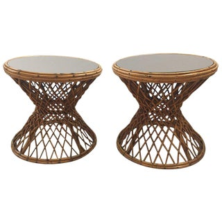 Pair of Rattan Mirrored Top End Tables