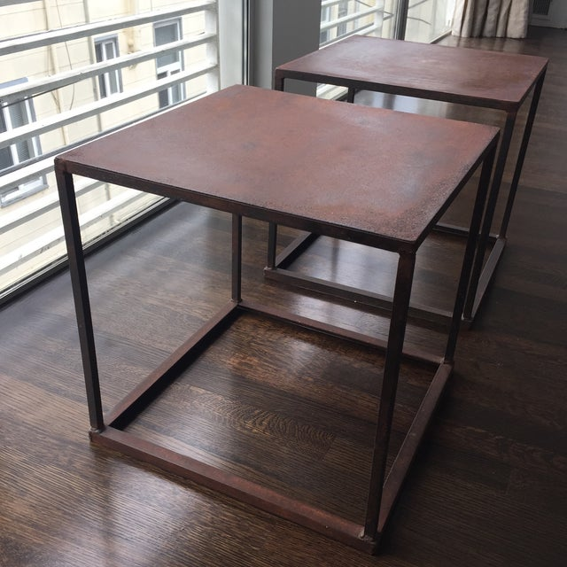 Industrial Frame Square Side Tables - Pair - Image 4 of 7