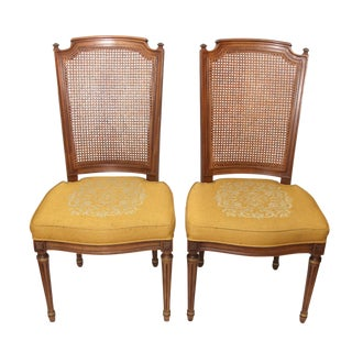 Vintage Henredon Cane Back Upholstered Side Chairs - A Pair