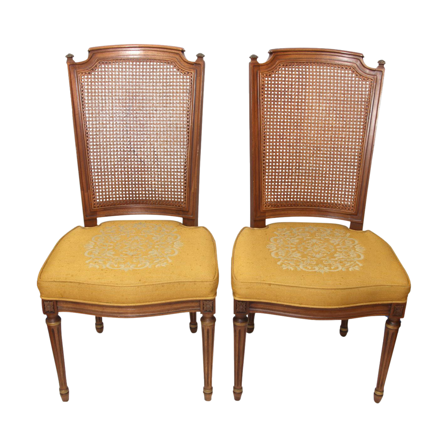 Vintage Henredon Cane Back Upholstered Side Chairs   A Pair