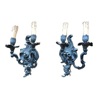 Bronze Finish Italian Wall Sconces - A Pair