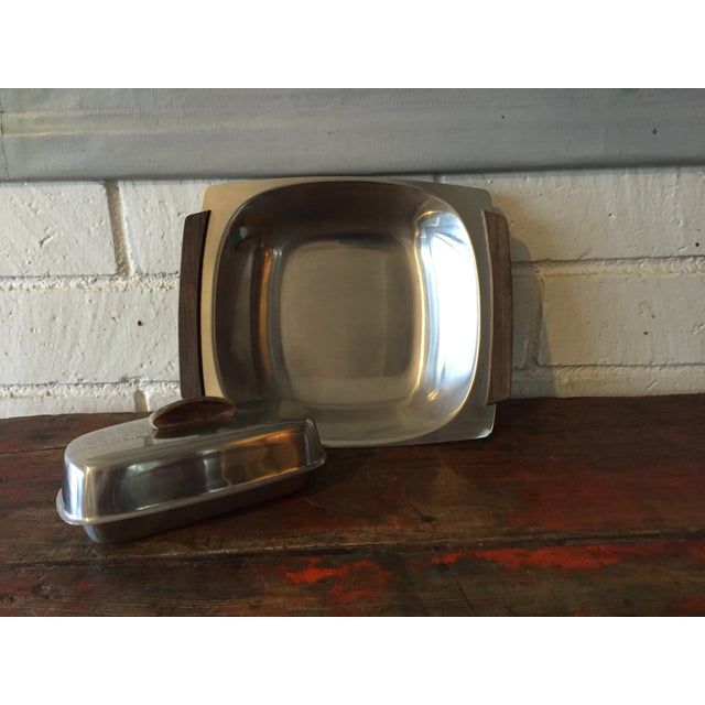Danish Modern Stainless Butter Dish & Tray - Image 2 of 8