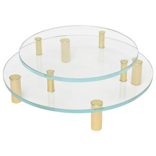 Modernist Two-Tiered Circular Brass and Glass Sculptural Centerpiece