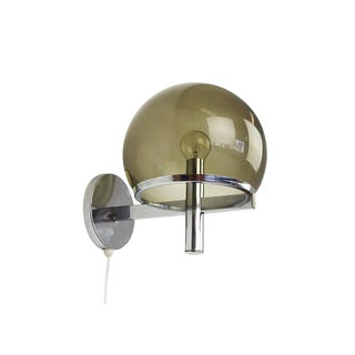 Gaetano Sciolari Club Smoke Glass & Chrome Wall Lamp