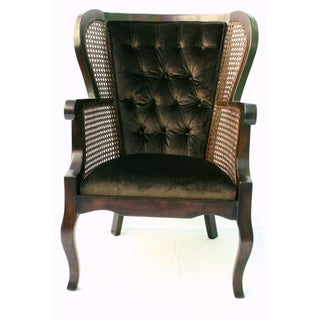 Vintage Regency Cane High Wingback Chair