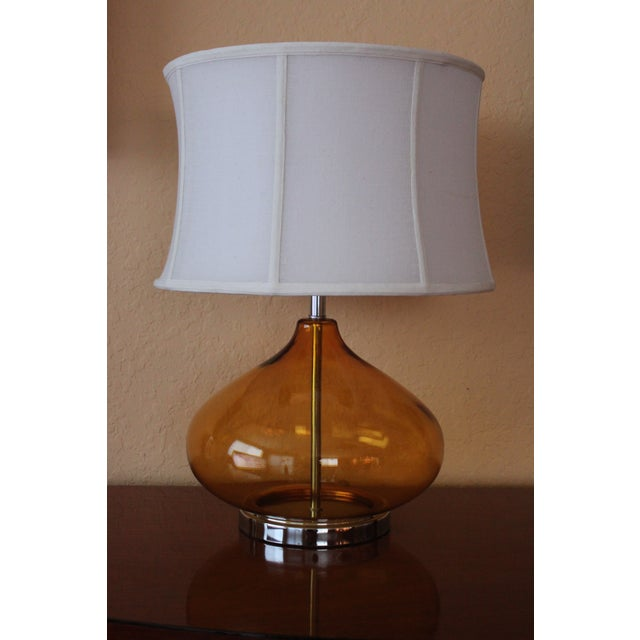 Image of Amber Glass Table Lamps - A Pair