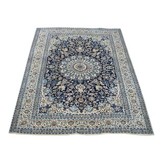 Part Silk Nain-Isfahan Rug - 8″ × 1′