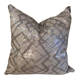 Silver Hand Printed Linen Pillow