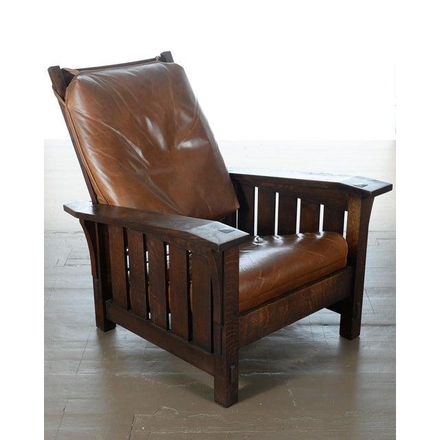 Warren Hile Studio Oak Morris Chair, Brown Leather - Image 2 of 10