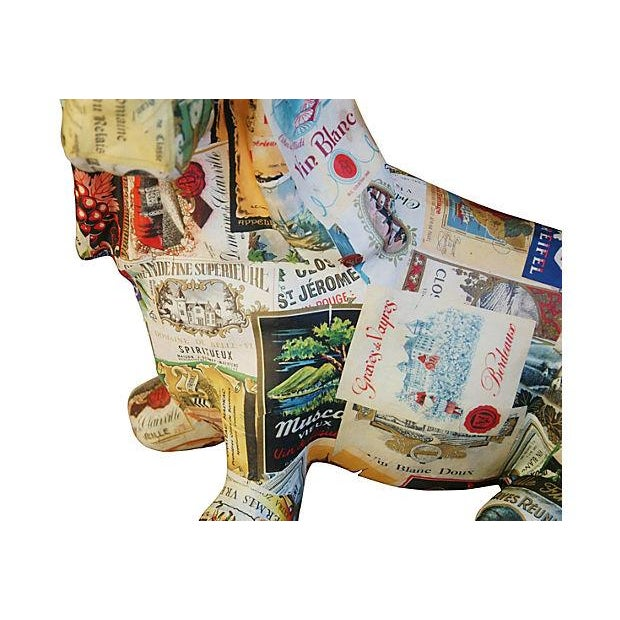 Image of French Wine Bottle Labels Decoupage Dog