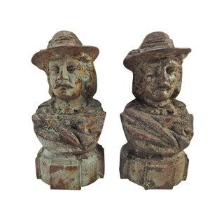 Antique Cast Iron Portrait Finials - A Pair
