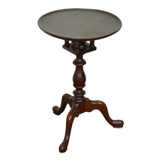 Custom Mahogany Small Round Tilt Top Candle Stand Table
