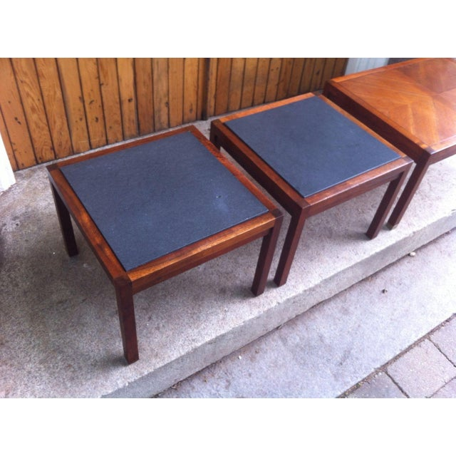 Mid-Century Slate and Walnut End Tables - Set of 3 - Image 3 of 8