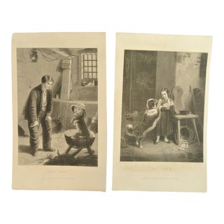 19th Century 'The Pets' and 'Eyes Front' Engravings - Pair