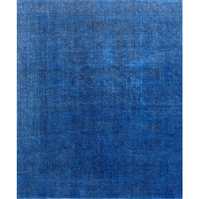 "Blue Vintage Overdyed Rug - 9' 5"" X 11' 5"" - Image 1 of 3"