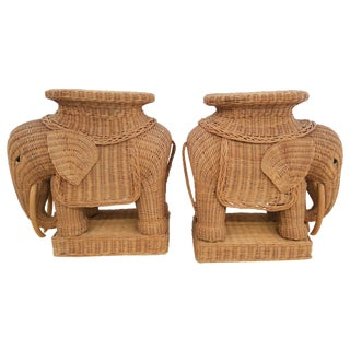 Hollywood Regency Wicker Elephant - A Pair