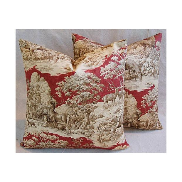 Designer French Woodland Deer Toile Pillows - Pair - Image 8 of 8