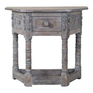 Antique English Limed Oak Credenza Console Table circa 1890