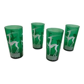 Emerald Green Gazelle Highball Glasses - Set of 4
