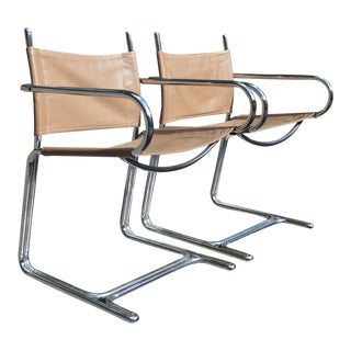 Chrome Reverse Cantilever Chairs - A Pair