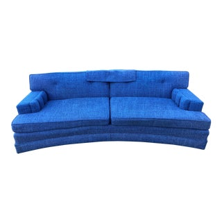 Mid-Century Curved Royal Blue Tweed Sofa