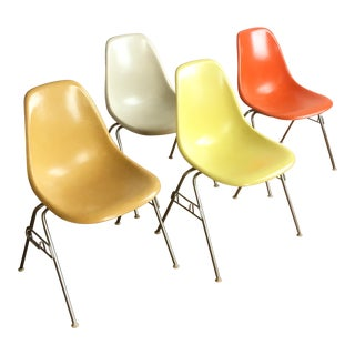Vintage Herman Miller Eames Fiberglass Shell Chairs - Set of 4