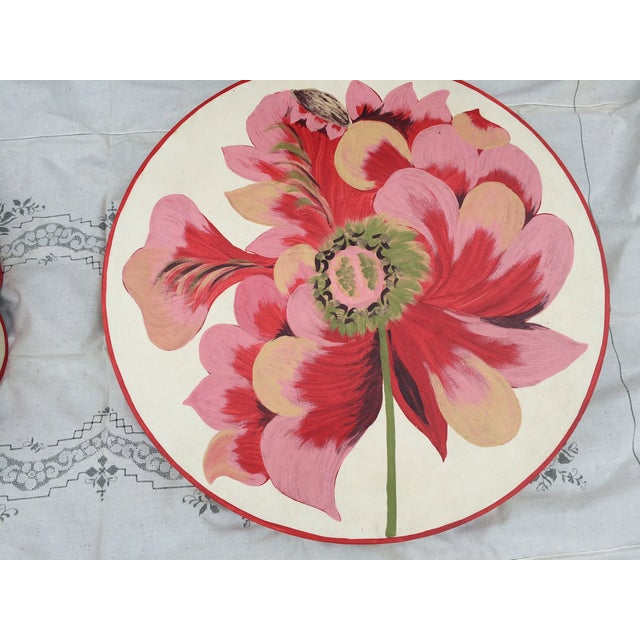 Metal Floral Painted Side Table Covers - A Pair - Image 4 of 10