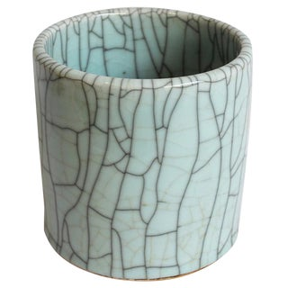 Porcelain Pot With Crackle Finish