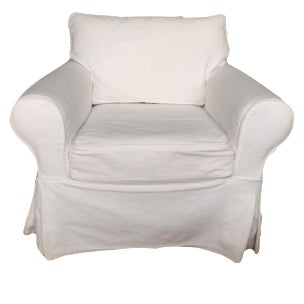 Pottery Barn White Slipcover Armchair - Image 1 of 6