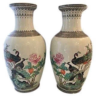 Chinoiserie Peacock Vases - a Pair